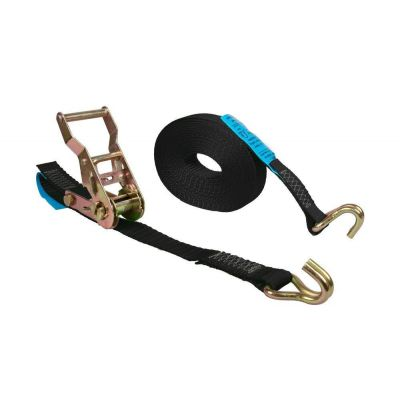 spanband 25 mm zwart met ratelspanner en vingerhaken lengte 5 m